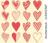 16 hand drawn different hearts... | Shutterstock .eps vector #114542587