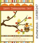 happy thanksgiving day card.... | Shutterstock .eps vector #114585247