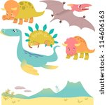 set of cartoon dinosaurs | Shutterstock .eps vector #114606163