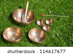 Tibetan singing bowls for sound healing - stock photo