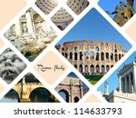 Set of historic places of Rome city, Italy - stock photo
