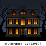 haunted house in the night.... | Shutterstock .eps vector #114639577