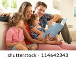 parents sitting with children... | Shutterstock . vector #114642343