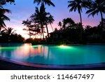 Sunset And Illuminated Swimmin...