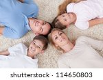 close up of happy family lying... | Shutterstock . vector #114650803