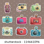 camera stickers - stock vector