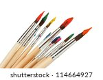 paint brushes with gouache... | Shutterstock . vector #114664927
