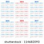 calendar 2012  2013  2014  2015 ... | Shutterstock .eps vector #114682093