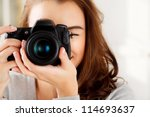 photographer woman girl is... | Shutterstock . vector #114693637