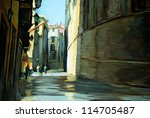 rain in gothic quarter of barcelona. painting by oil on a canvas. illustration - stock photo