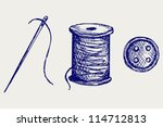 spool with threads and sewing... | Shutterstock .eps vector #114712813