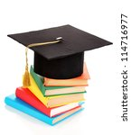 grad hat with books isolated on ... | Shutterstock . vector #114716977