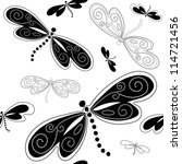 Seamless white pattern with black dragonflies and vintage curls (vector) - stock vector