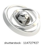 earth globe black and chrome... | Shutterstock . vector #114727927
