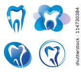 set of tooth stylized icons, isolated vector symbols - stock vector