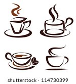 vector set of coffee cups icons, stylized sketch symbols - stock vector