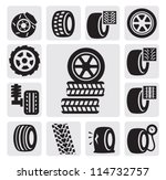 vector black tire icons set on... | Shutterstock .eps vector #114732757