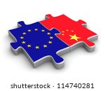 Three dimensional render of a  two puzzle pieces with flags of China and European Union - stock photo