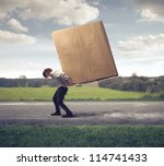 man carrying on his shoulders a ... | Shutterstock . vector #114741433