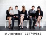Students before interview exam - stock photo