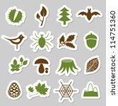 forest stickers - stock vector