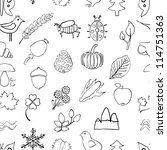 doodle seamless nature pattern | Shutterstock .eps vector #114751363