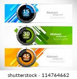 Set of banners with timers - stock vector