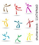 Dancing peoples pictograms for entertainment or sports design, such a logo. Jpeg version also available in gallery - stock vector