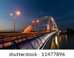 Apollo bridge in Bratislava in Slovakia in the evening - stock photo