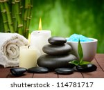 spa composition with shell and toning sea crystals - stock photo