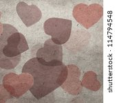 vintage wallpaper background with red hearts - stock photo