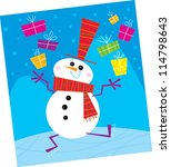 Snowman Juggling Gifts - stock vector