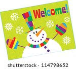 Snowman Welcome - stock vector
