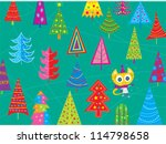 Kitty and The Festival of Trees - stock vector
