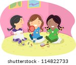 illustration of girls having a... | Shutterstock .eps vector #114822733