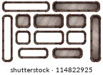 Many sizes of rusty pipe frames with and without backgrounds good for buttons or signs - stock photo