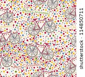 Seamless pattern with christmas bike - stock vector