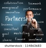 business man writing partnership concept - stock photo