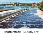 Water treatment tank with waste water with aeration process - stock photo