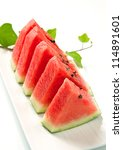 slice of fresh red watermelon - stock photo