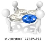 Project Management. 3D little human character X4 holding Cog Wheels. One Blue. People series. - stock photo