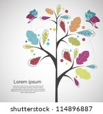 abstract tree with butterflies | Shutterstock .eps vector #114896887