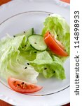 green salad on white plate | Shutterstock . vector #114898933