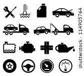 Car, mechanic, repair and maintenance icon set - stock vector