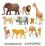 illustration of animals in on a ... | Shutterstock . vector #114915943