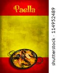Traditional spanish dish: paella valenciana on spanish flag - stock photo