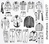 set of clothes hand drawn | Shutterstock .eps vector #114961177