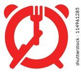 Dinner time sign - fork and knife as hands of alarm clock - stock vector