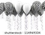 black and white balloons background isolated on white - stock photo