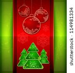 Balls and fir trees on red and green color background, vector illustration - stock vector